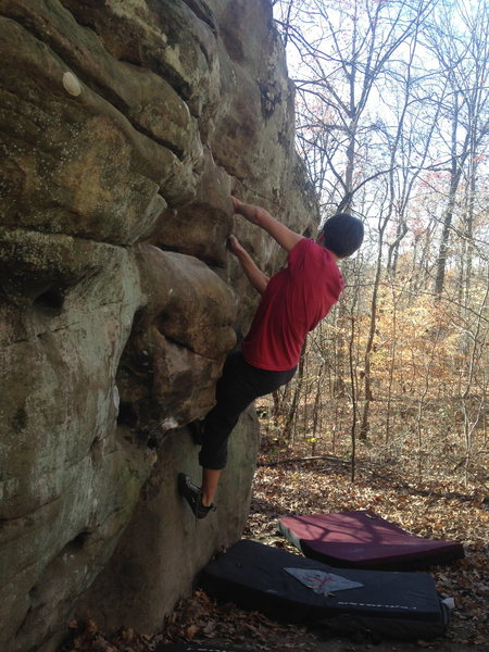 Rock Climbing Photo: Moving through the crux.