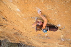 Rock Climbing Photo: Taylor sticking the crux crimp