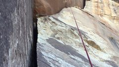 Rock Climbing Photo: P2 From my rappel down the route. Shown here is th...