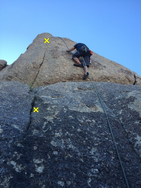 Rock Climbing Photo: Frontal assault of Shark Tooth.  Pitons marked by ...