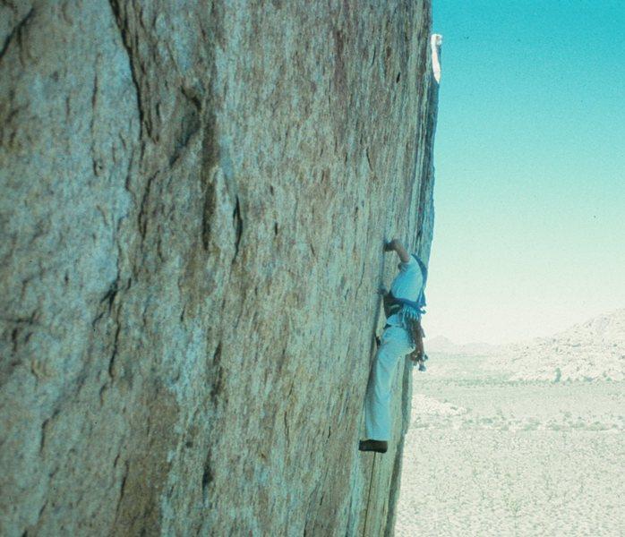 Rock Climbing Photo: Dimes on early repeat of Wangerbanger. 1976?