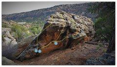 Rock Climbing Photo: Number 3. Wacko problem beta.
