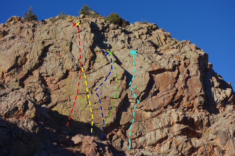 The Cactus Garden:<br> <br> 1) Palo Verde, 5.10d/11a, *.<br> 2) Ocatillo, 5.10c, ***.<br> 3) Prickly Pair Left, 5.10d/11a, **.<br> 4) Prickly Pair Right, 5.11a, ***.<br> 5) Detachment Disorder, 5.11a, **.
