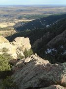 Rock Climbing Photo: Looking back down on the route from the false summ...