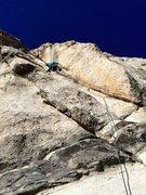 Rock Climbing Photo: Ben Reader leading P1 of Fred Flintstone