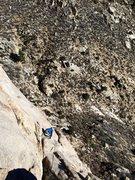 Rock Climbing Photo: Ben Reader following P2 of Fred Flintstone, lost a...