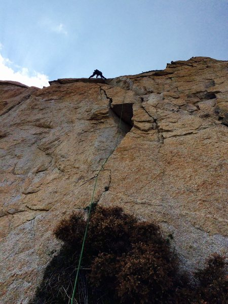 "Rock Climbing Photo: Amy Ness leading the ""quarter-moon crack&quot..."