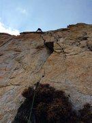 "Rock Climbing Photo: Amy Ness leading the ""quarter-moon crack&quot..."
