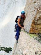Rock Climbing Photo: Amy Ness following the awesome & exposed hand trav...
