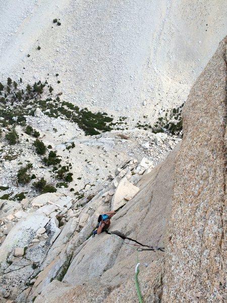 Rock Climbing Photo: Amy Ness following the splitter towards the wild h...