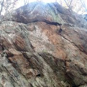 Rock Climbing Photo: Steep, big holds at the top  Not cleaned up waitin...