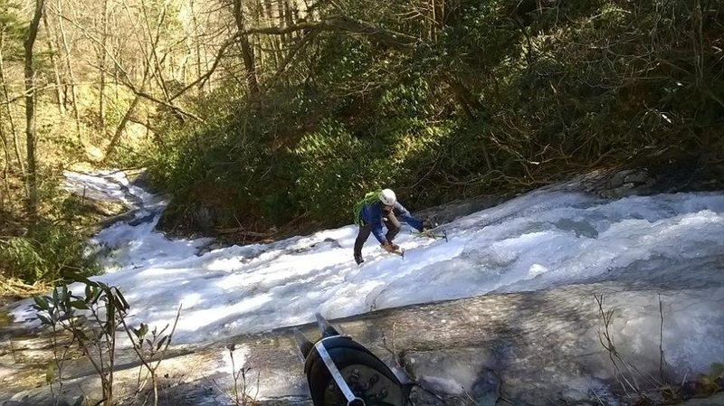 My buddy following me up the upper sections of browns creek falls