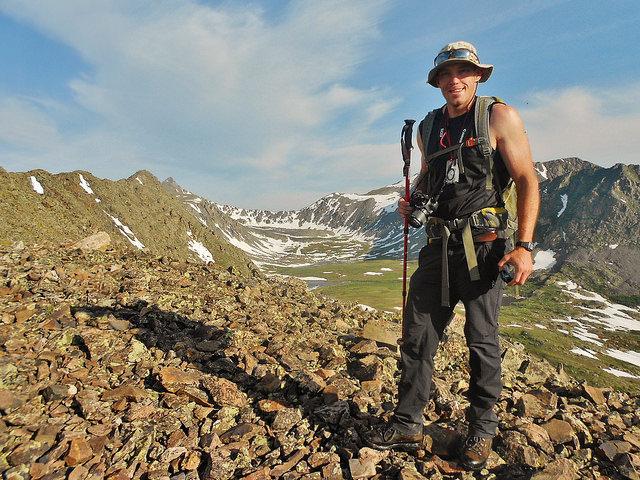 Scrambling up east ridge of Pacific Peak