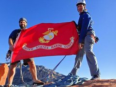 Rock Climbing Photo: Flying the Marine Corps flag on Veteran's Day.