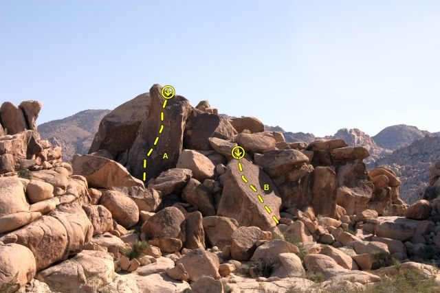 Group Campsite 2, Joshua Tree NP<br> <br> A. Katoomba (5.10c)<br> B. Candyass (5.5)