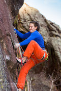 Rock Climbing Photo: Molly Mitchell after placing the sketchy gear.  Ph...