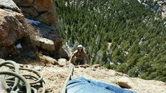 Rock Climbing Photo: Looking down from the belay of the stellar P3.