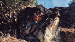 Rock Climbing Photo: Crux of The Switchback, on the main boulder, Doses...