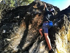 Rock Climbing Photo: Crux of Dan's Major Problem route on Doses and Mim...
