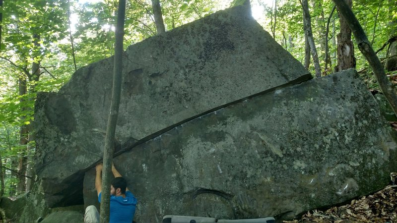 Andy Pohl on the Scarred Rock Boulder