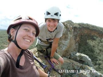 My sister and I climbing at Hell's Gate National Park, Kenya (December 2013)