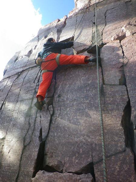 Rock Climbing Photo: Mason throwing an Unnecessary leg