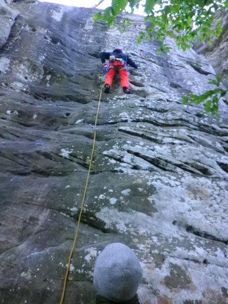 Rock Climbing Photo: Mason leading Smidgin