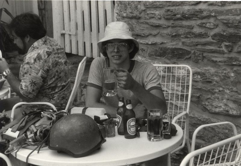 Scott McClurg. Recharging in Harpers Ferry after a day of climbing. (Rob Savoye collection)<br>