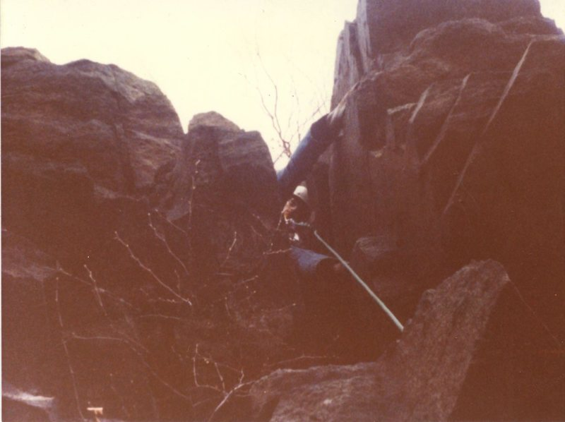 Rob Savoye leading D Climb in 1979 with Ed Bollack. (Rob Savoye collection)