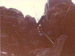 Rock Climbing Photo: Rob Savoye leading D Climb in 1979 with Ed Bollack...