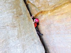 Rock Climbing Photo: Pulling out is the crux