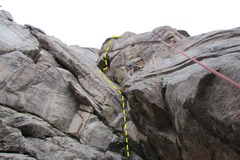 Rock Climbing Photo: Stacks is the offwidth on the upper left. Jay is o...