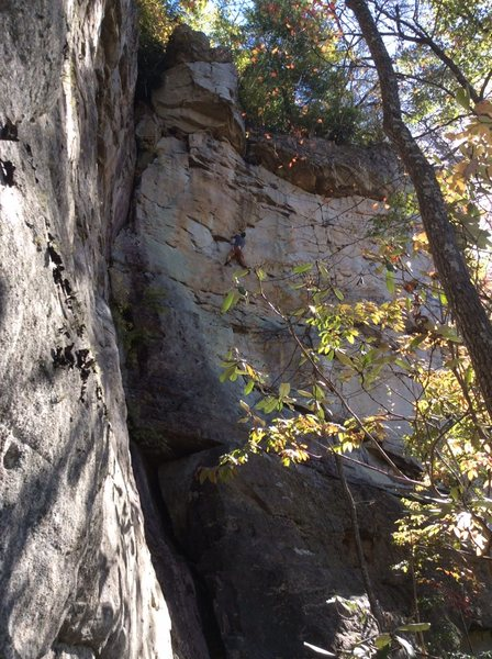Rock Climbing Photo: Brad on the FA of Power and The Glory