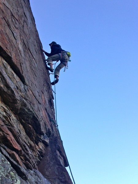 Rock Climbing Photo: Cruising the thin crack of Koran (5.10)