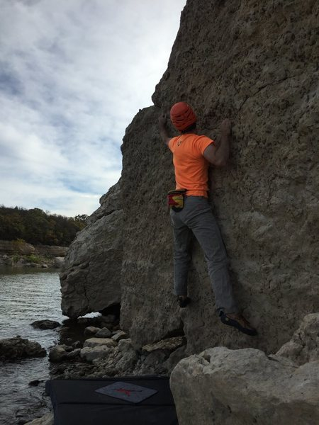 Climbing Little China on CAB boulder (at least I think that's what it was)