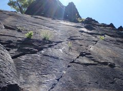 Rock Climbing Photo: From the belay where the Sign Route deviates from ...