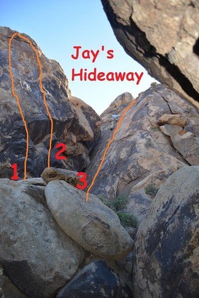 Jay's Hideaway topo.<br> <br> 1. 5.9**<br> 2. 10a***<br> 3. 5.6*