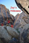 Jay's Hideaway topo. <br /> <br />1. 5.9** <br />2. 10a*** <br />3. 5.6*