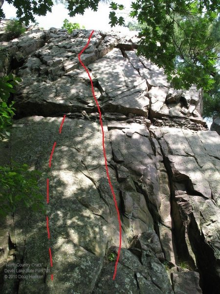 "Topo of the route ""The Vicelord"".  Dashed line to the left shows the line of the face route @POUND@17, page 309, Swartling-Mayer 3rd edition that's rated 5.10."