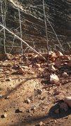 Rock Climbing Photo: Rockfall and damaged trees at base of Eddyline and...