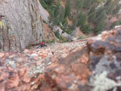 Rock Climbing Photo: Me following up the second pitch of Crack Parallel...