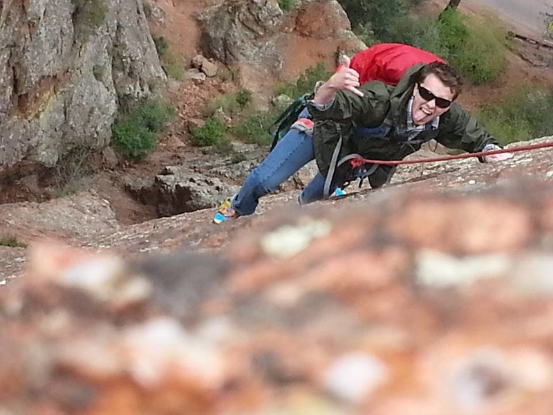 Rock Climbing Photo: Finishing up the 2nd pitch of Crack Parallel