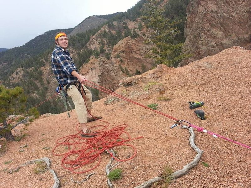 My friend Brennen doing interesting belay on the top of Crack Parallel