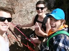 Rock Climbing Photo: Us at the comfortable first pitch of Crack Paralle...