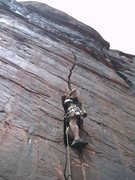 Rock Climbing Photo: On the lower crack with the .11 section above and ...