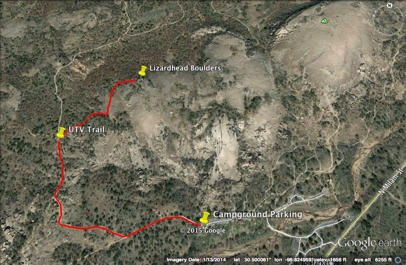 This is an easy way to hike to Lizardhead Boulders and minimize your impact of hiking off trail.  It's about one mile from the campground parking lot to the boulders.  Start in the campground parking lot and head west on The Loop Trail.  After hiking on The Loop Trail for about .65 miles there is a small road for utility vehicles going to the right towards Little Dome.  GPS coordinates for this little road are about 30.499402N and -98.831856W.    Hike on the little road until you reach the granite for Little Dome.  At this point hike generally to the north east to reach Lizardhead Boulders.