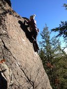 Meghan making it look easy on the first ascent