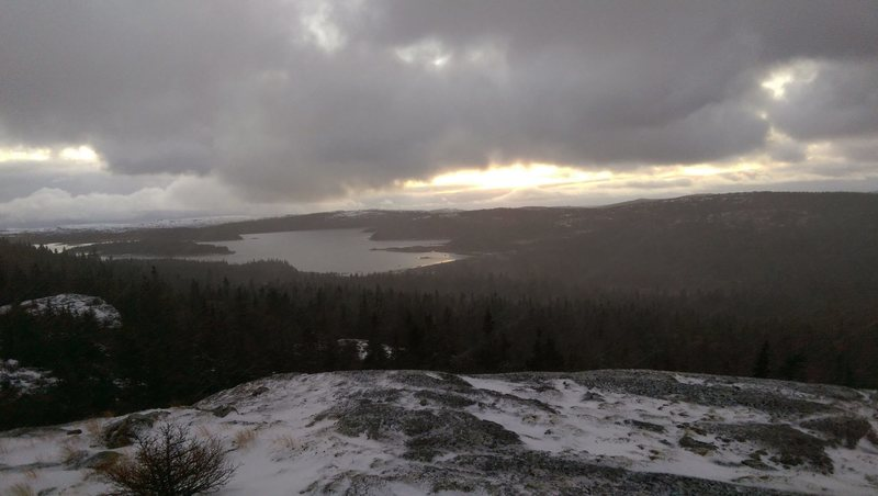View looking down on Finnies Pond. Nice view to the left of butterpot mountain and holyrood (out of shot).