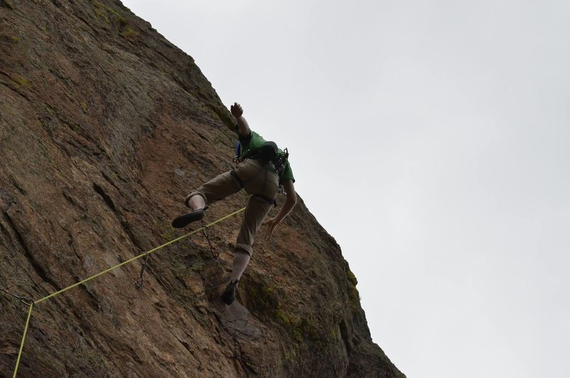 Everyone falls once in awhile.This picture was taken right as my belayer caught me and my foot started to touch the wall.  This was at the thumb in Estes Park.