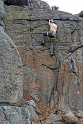 Rock Climbing Photo: Brian Sundermann on first top-rope ascent of Rodeo...